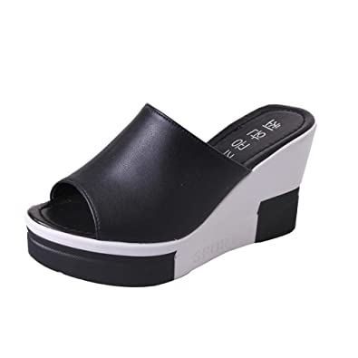 81b1934de172 HARRYSTORE Ladies Platform Mules Wedges Sandals High Heel Slippers Summer  Women Shoes Leather Soft Sandals Ladies