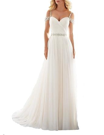 3f7dfbb93b TBGirl Romantic A-line Straps Beading Long Soft Tulle Beach Wedding Dresses