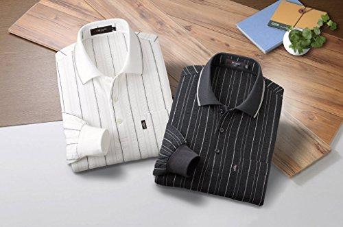 タッチ時制管理します【2枚(色)セット】[ピエルッチ] Pierucci メンズ サッカー素材 長袖 ポロシャツ 2色組 NE-2026 ホワイト & ブラック