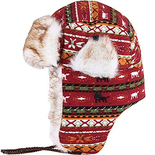 (DOSOMI Winter Bomber Hats Men Russian Faux Fur Earmuffs Warm lei feng caps Women ski Thickened)