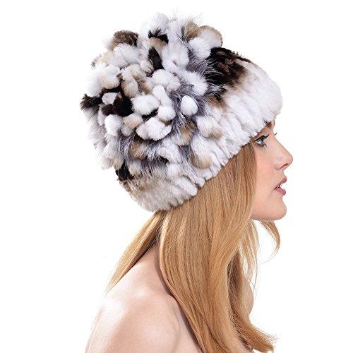 QUEENFUR Rabbit Fur Hat - Winter Fashion Knit Hats Women Real Fur Warm Skullies Beanie ()