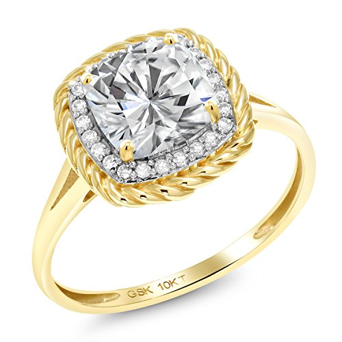 10K Yellow Gold Solitaire w/Accent Stones Ring Forever Brilliant (GHI) Cushion 1.70ct (DEW) Created Moissanite by Charles & Colvard and Diamond (Size (Yellow Gold Created Moissanite Ring)