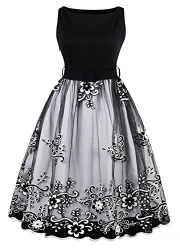 YAZACO Women's Plus Size 1950s Vintage Dresses Sleeveless Lace Cocktail Swing Dress