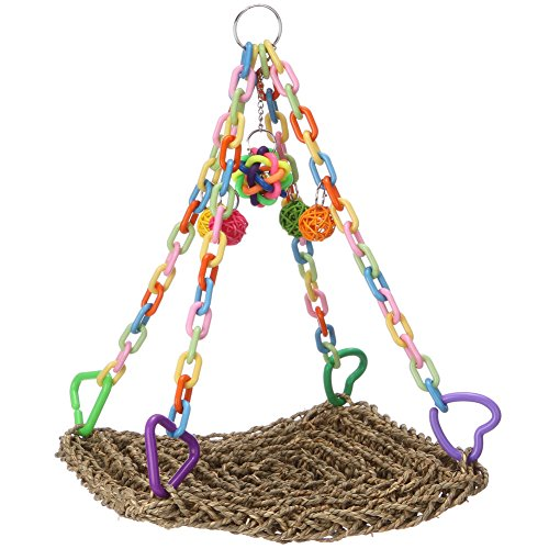 Bird Toys - Handmade Seagrass Swing Bird Cages Toys for Parrot Conure Cockatiel Parakeet ()