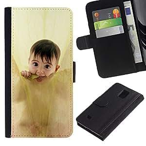Planetar® Modelo colorido cuero carpeta tirón caso cubierta piel Holster Funda protección Para Samsung Galaxy Note 4 IV / SM-N910 ( Anne geddes cute baby )