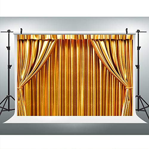 Golden Curtain Grand Stage Show Photography Backdrop for Theme Party, 9x6FT, Wedding Bridal Bachelorette Background, Retirement Prom Rave Party Photo Booth Studio Props LULS007