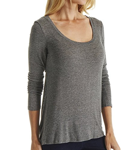 Splendid Womens Drapey Lux Peep Back Long Sleeve Steel