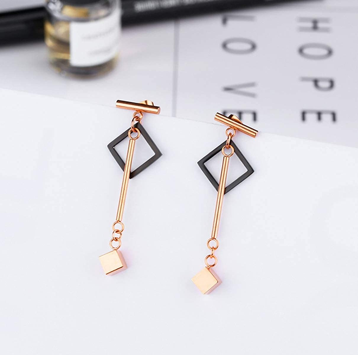 NIRONG LAVIE Womens 18K Rose Gold Plated Geometric Cube Pendant Earrings Jewelry Gifts for Women Mother Girls Cube Dangle Drop Long Jewelry Earring