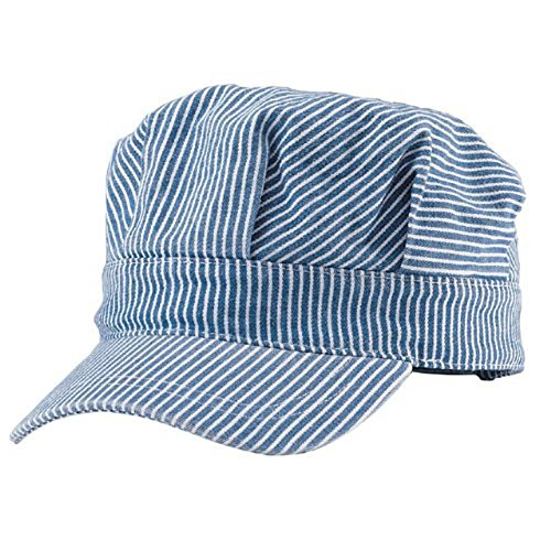 Striped Denim Vintage Engineer Train Cap -