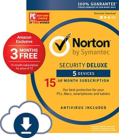 Norton Security Deluxe - 5 Devices; Amazon Exclusive 15-month Subscription