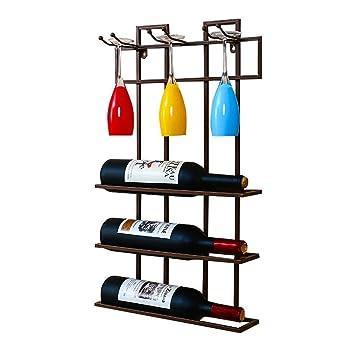 Muebles de Bar Loft Estantería montada en la Pared Hierro metálico Estante para Colgar en la ...