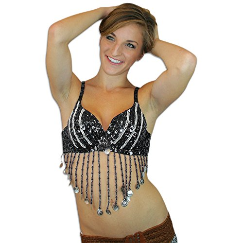 All Black Dance Costumes (Black Belly Dance Tribal Fringe Sequin Beaded Bra Top Coins Cabaret, 34B/32C Halloween Costume)