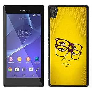 EJOY---Cubierta de la caja de protección para la piel dura ** Sony Xperia T3 ** --Gafas Hipster Chic mujer amarillo Retrato Sexy