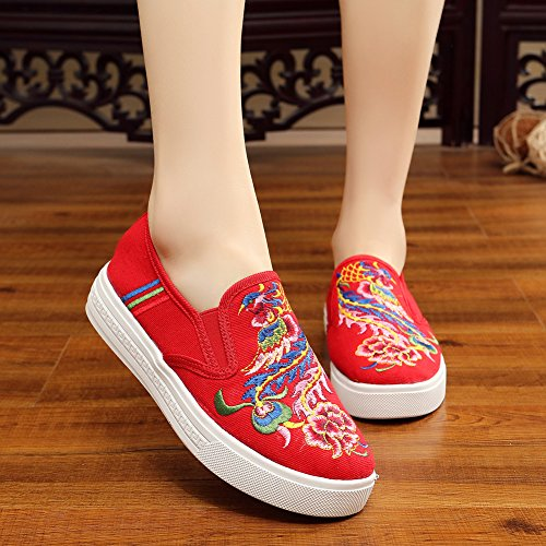 Canvas Loafer Red Warbler Casual AvaCostume Shoes Embroidery Sneakers Women 4xC8wXt