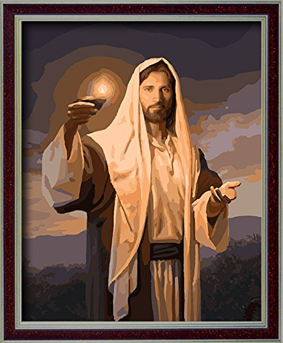 DoMyArt Diy Oil Painting, Paint By Number Kits - Jesus Lanterns 16X20 Inch