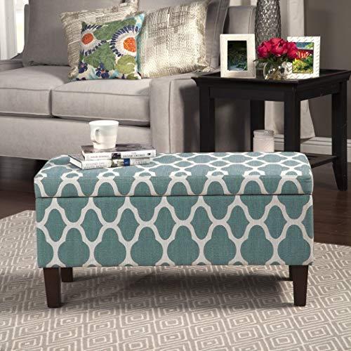 HomePop Upholstered Decorative Storage Ottoman, Teal Blue