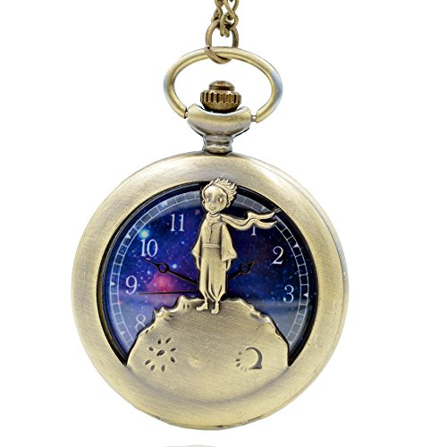 Cosplay The little Prince Bronze Quartz Pocket Watch Analog Pendant Necklace Chain Men Women Girls Boys