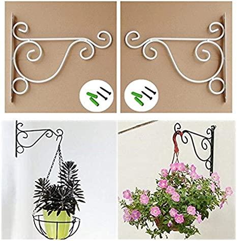 Black UUsave Pack of 2 Iron Wall Mount Plant Hanging Hooks Metal Wall Brackets Hangers for Planter Bird Feeder Lanterns Wind Chimes Outdoor Decoration Hooks with Screws