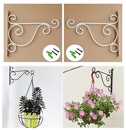 UUsave Pack of 2 Iron Wall Mount Plant Hanging Hooks Metal Wall Brackets Hangers for Planter Bird Feeder Lanterns Wind Chimes Outdoor Decoration Hooks with Screws (White)