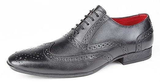Route 21 - Zapatos de cordones de Piel para hombre, color negro, talla 41.5