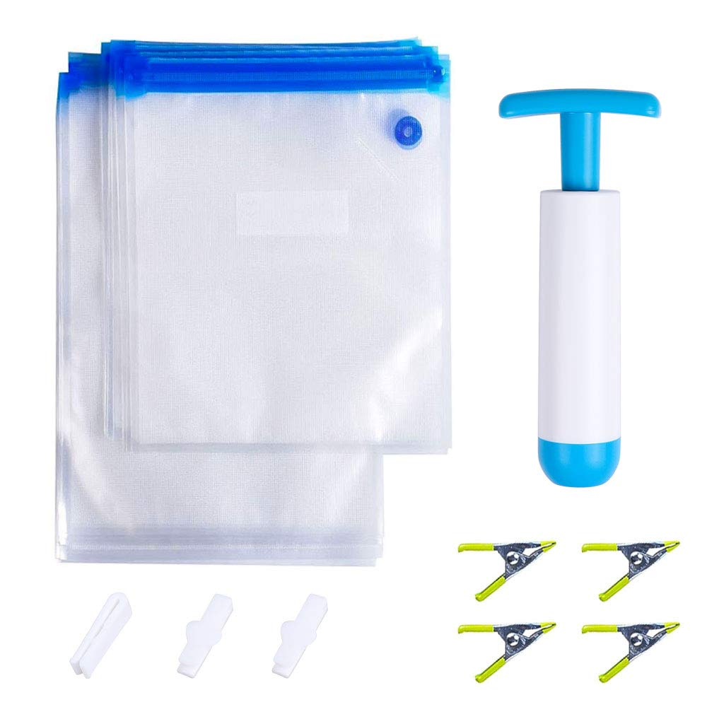 Aorange Sous Vide Bags, BPA Free Vacuum Sealer Pump Bags, Practical Plastic Bags for Sous Vide, Reusable Sous Vide Pouches, 1 Hand Pump, 2 Bag Sealing Clips and 4 Sous Vide Clips