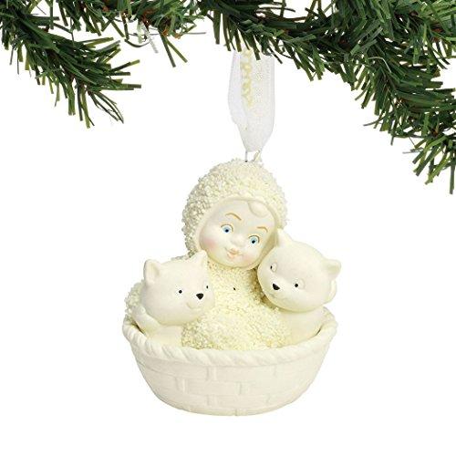 "Department 56 Snowbabies Ornaments - Department 56 Snowbabies ""Basket of Kittens"" Porcelain Hanging Ornament, 3"""