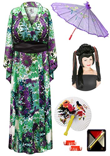 Satiny Floral Geisha Robe Plus Size Costume - Dlx Red Ribbon Wig Kit 6x/7x