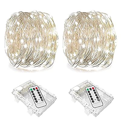 LENPOW 2 Pack Led Starry Fairy String Lights Super Bright Firefly Rope Lamp Twinkle Lantern 16.4ft 50 Led Waterproof 8 Modes Remote Control for Wedding Festival Decor Battery Operated