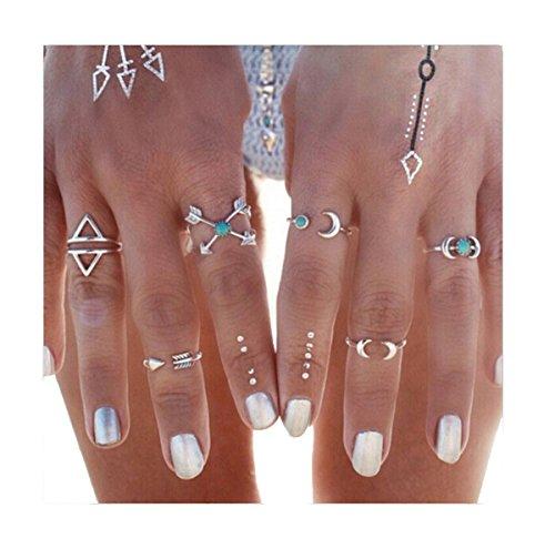 VWH 6pcs Vintage Moon Turquoise Midi Finger Knuckle Rings Set