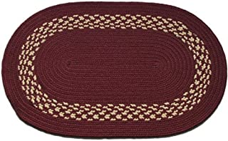 product image for Oval Braided Rug (2'x3'): Burgundy - Burgundy & Cream Band