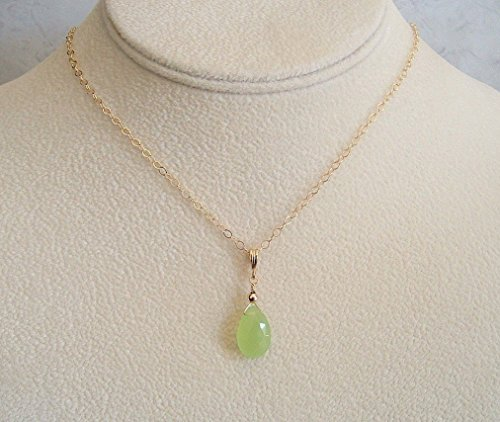 Lime Green Chalcedony Briolette Teardrop Pendant 18
