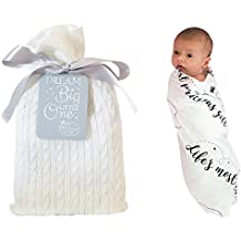 Unique Baby Gifts - Baby Swaddle Blanket in a Beautiful Gift Bag - Perfect Baby Shower Gift, Baptism Gift, and Baby Birthday Gift - Soft Eco-Friendly Bamboo / Organic Muslin Cotton Receiving Blanket!