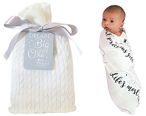 Gifts Unique Ideas Baby Shower - Unique Baby Gifts - Baby Swaddle Blanket in a Beautiful Gift Bag - Perfect Baby Shower Gift, Baptism Gift, and Baby Birthday Gift - Soft Eco-Friendly Bamboo / Organic Muslin Cotton Receiving Blanket!