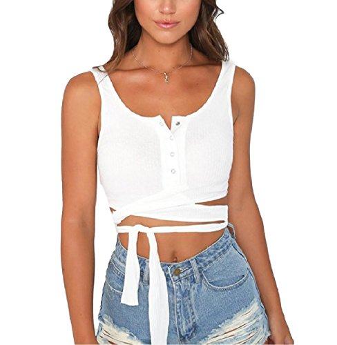 コミット銀行ジョージハンブリーTootess Women Bodycon Solid Color Fashionable Buttoned Tank Tops Vest