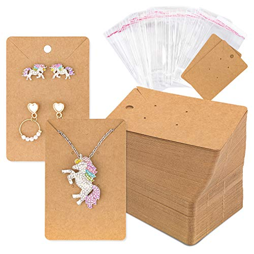 Whaline 150 Pcs Necklace Earring Display Card with 200 Self-Seal Bags, Earring Holder Cards Blank Kraft Paper Tags for DIY Ear Studs, Earrings and Jewelry Display, 3.5 x 2.4 Inch (Brown)