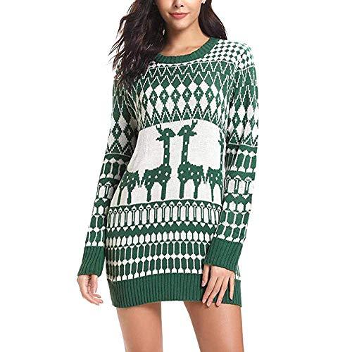 Hellgrau Rentier Motiv Weihnachten Langarm Strickpullover Oberteile Sweater Damen Mode