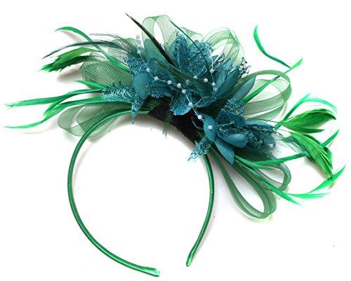 Vert/bleu sarcelle Serre-tête bibi avec plume pour cheveux Net Créoles mariage Royal Ascot courses