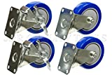 Set of 4 PCS POLYURETHANE 4'' Swivel 2 Wheel Brake Heavy Duty Blue Caster Steel Casters HD