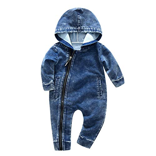 Sharemen Baby Boy Girl Cute Hooded Romper Bodysuit Clothes (0-6 Months, Blue 1)