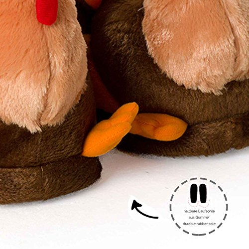 Plush Slippers Padded High Rubber Insole Durable Quality Novelty Funslippers Sole Thanksgiving Warm Outer With Turkey qZTBwA