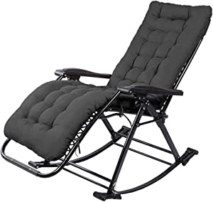 Household products Garden Rocking Chair Foldable Reclining Chair Outdoor Adjustable Sun Lounger Recliner Chairs Rocker Zero-Gravity Seat with Cushion for Beach Camping Patio Deck ( Color : Black )