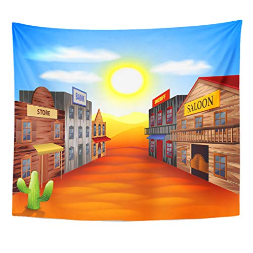 Emvency Tapestry Ghost Western Wild West Town Realistic Cartoon Scene Old Landscape Home Decor Wall Hanging for Living Room Bedroom Dorm 60x80 Inches ()
