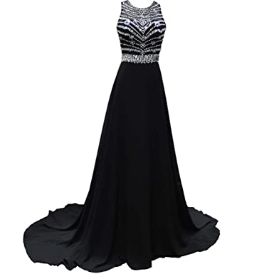 ABwedding Womens Sexy Prom Dress Beaded Models Long Evening Dress UK Black UK Size6