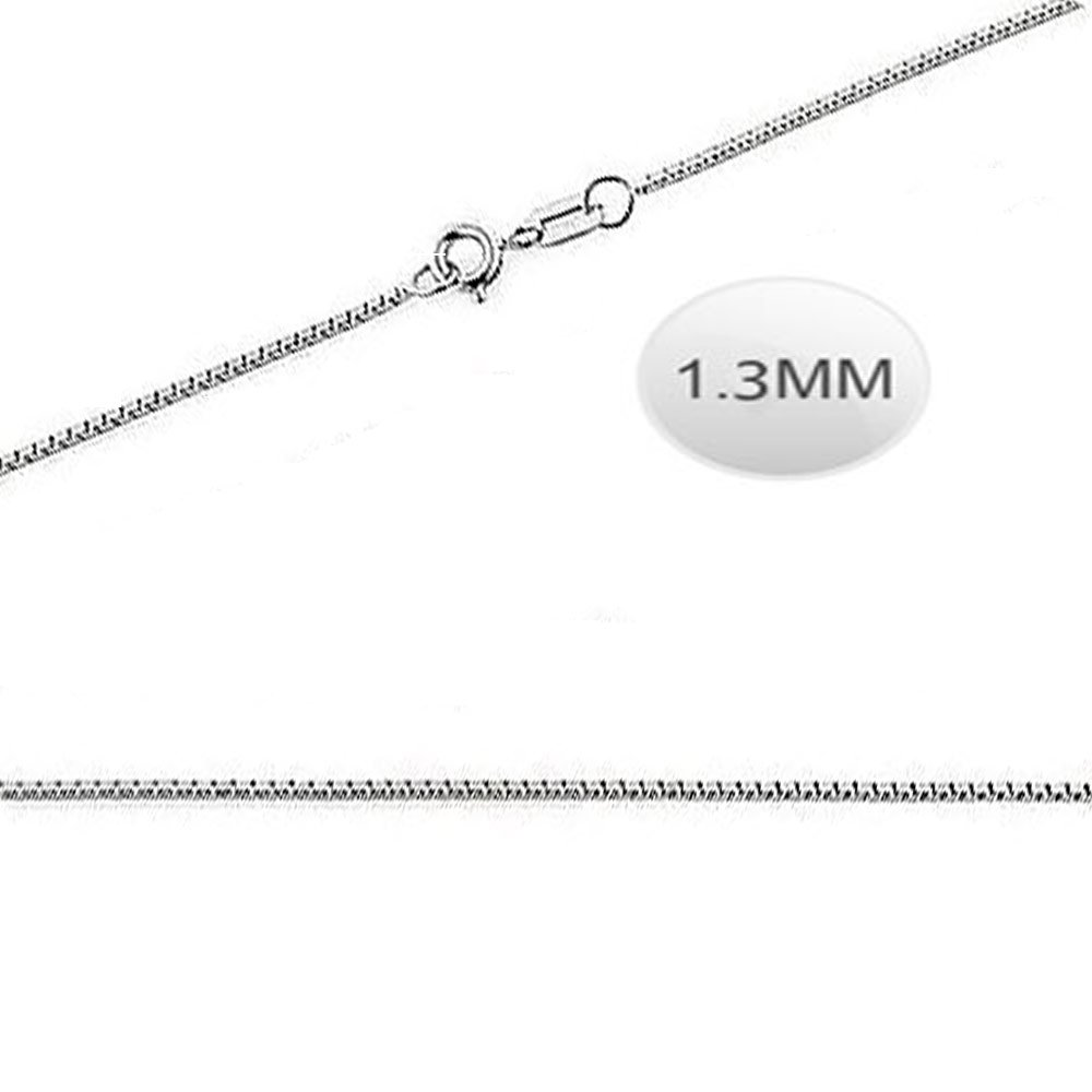 Inspirelista Italian Solid Sterling Silver Box Chain 026-1.3MM Luxurious Nickel Free Necklace with Springring Clasp Closure