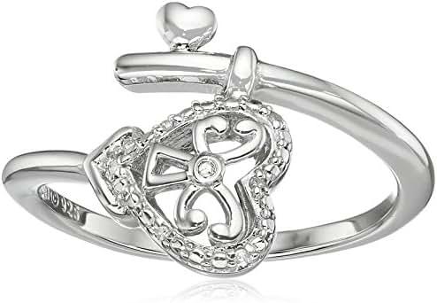 Sterling Silver Diamond Heart Wind Ring, Size 7