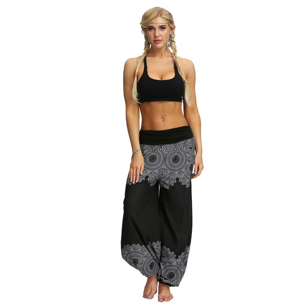 Fossen Pantalones Hippies Mujer Disfraz Primavera Y Verano 2019 Suelto Bohemios Tailandia Pantalone Elasticos Con Estampado Floral Casual Pant Para Estilo Informal Yoga Banquete Mujer Pantalones