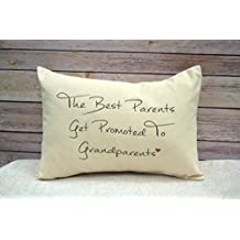 Personalized Grandparent Pillow, Pregnancy Announcement Pillow, Grandparent Gift Pillow The best parents get promoted to Grandparents with heart