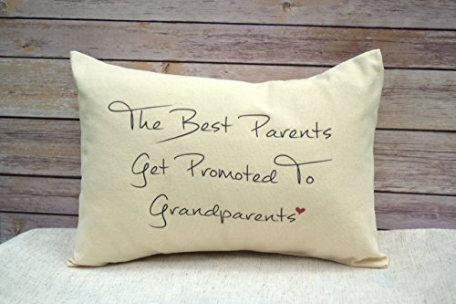 Personalized Grandparent Pillow, Pregnancy Announcement Pillow, Grandparent Gift Pillow The best parents get promoted to Grandparents with heart (Grandparent Personalized Gifts)