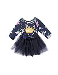 hirigin Newborn Baby Girls Fall Cotton Skirt Floral Crown Print Tutu Lace Princess Dress