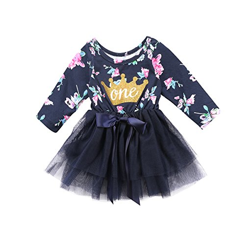 Newborn Baby Girls Fall Cotton Skirt Floral Crown Print Tutu Lace Princess Dress (12-18m, Long - Skirt Beautiful Baby Lace